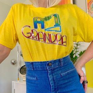 Vintage 70s rainbow iron on T-shirt #1 grandpa
